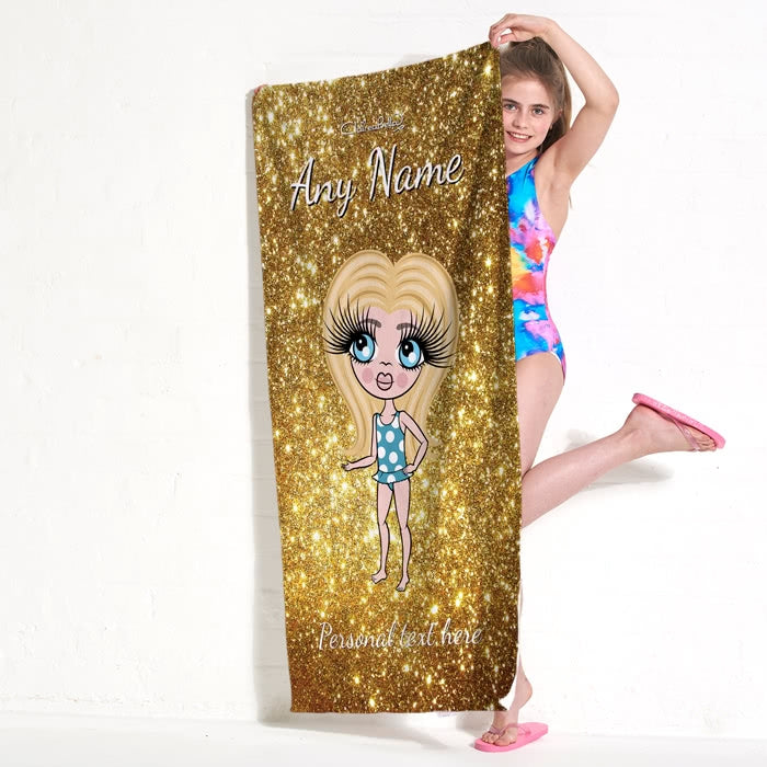 ClaireaBella Girls Glitter Effect Beach Towel - Image 6