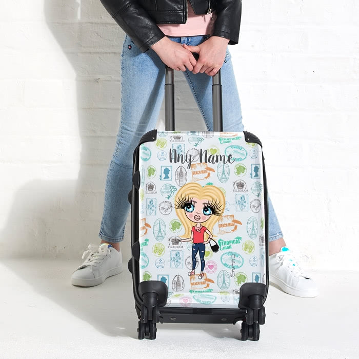 ClaireaBella Girls Travel Stamp Suitcase - Image 4