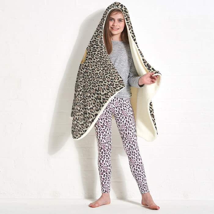ClaireaBella Girls Leopard Print Hooded Blanket - Image 7