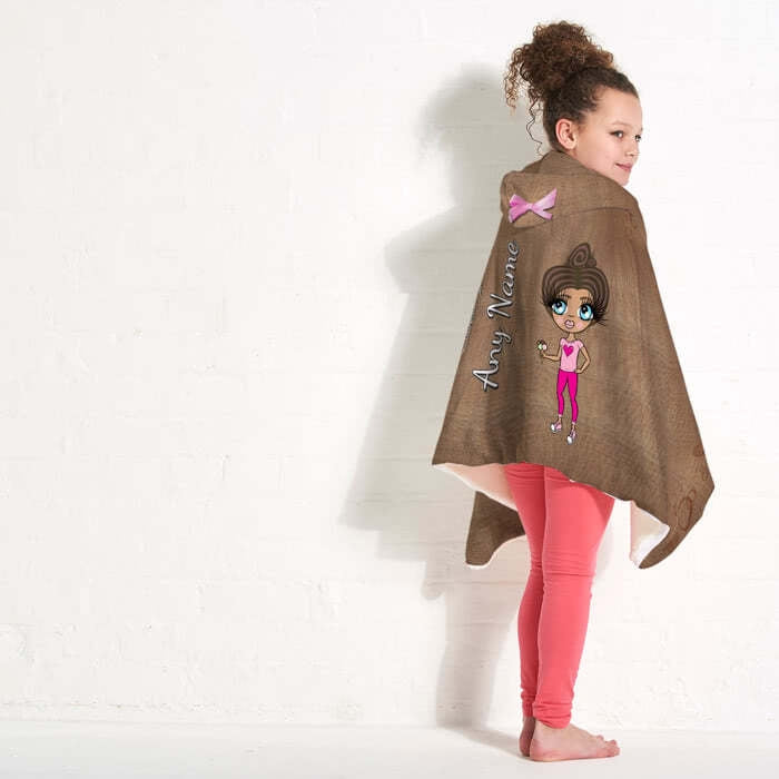 ClaireaBella Girls Jute Print Hooded Blanket - Image 3