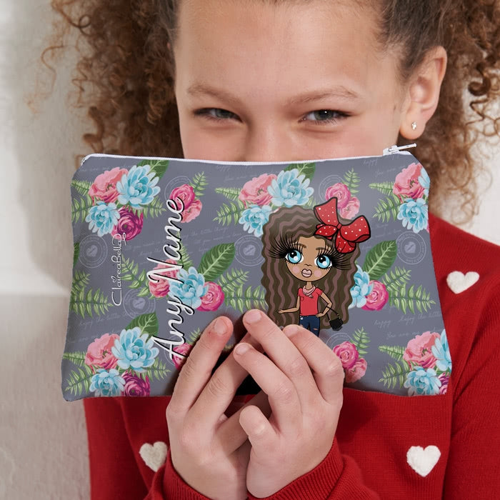 ClaireaBella Girls Grey Floral Make Up Bag - Image 3