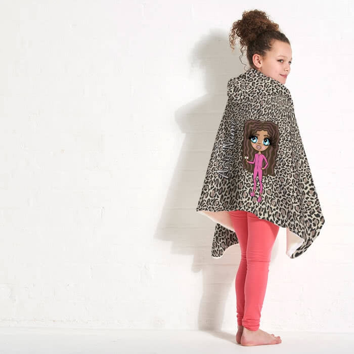 ClaireaBella Girls Leopard Print Hooded Blanket - Image 5