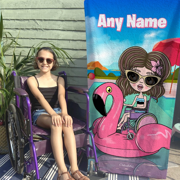 ClaireaBella Girls Flamingo Float Wheelchair Beach Towel - Image 2