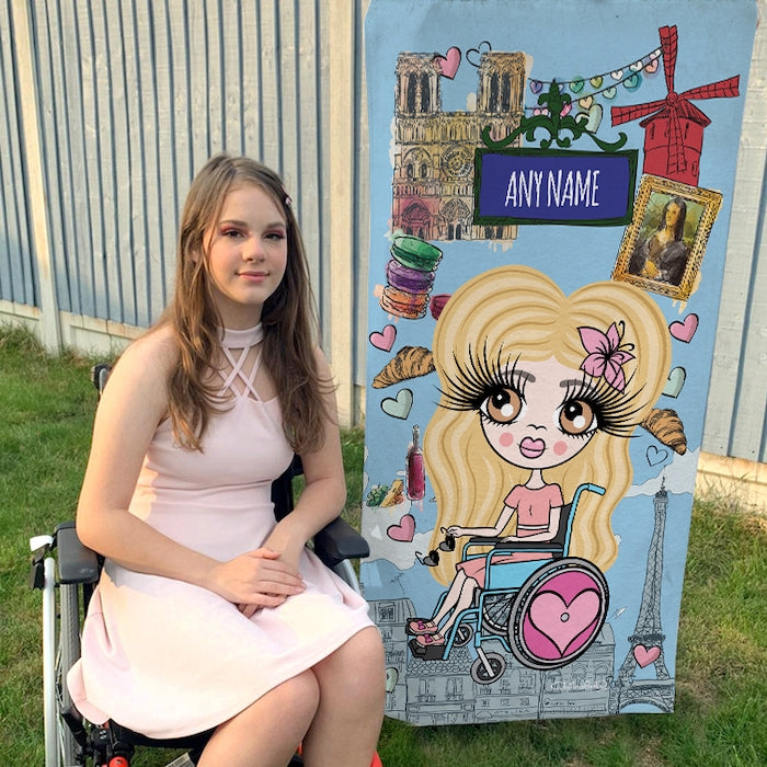 ClaireaBella Girls Love Paris Wheelchair Beach Towel - Image 1