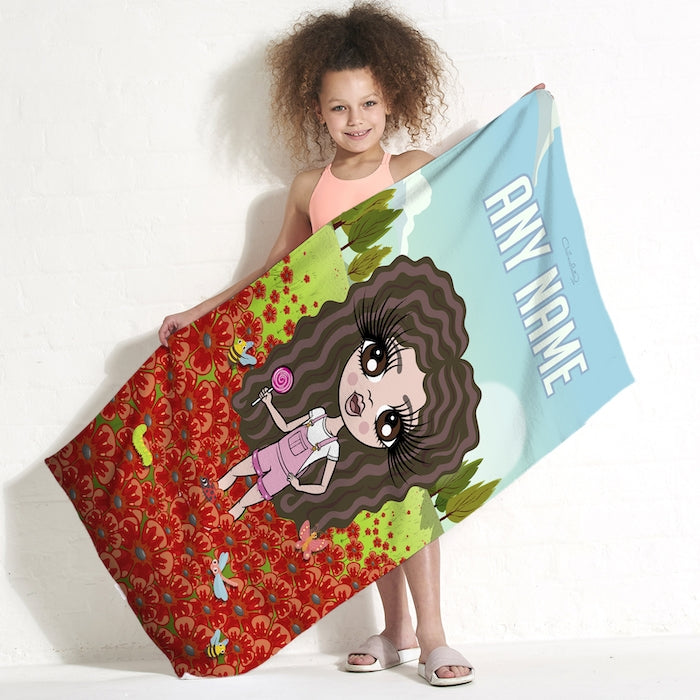 ClaireaBella Girls Poppy Field Beach Towel - Image 3