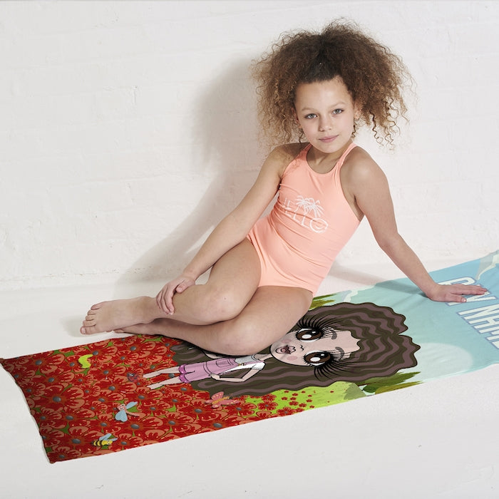 ClaireaBella Girls Poppy Field Beach Towel - Image 4