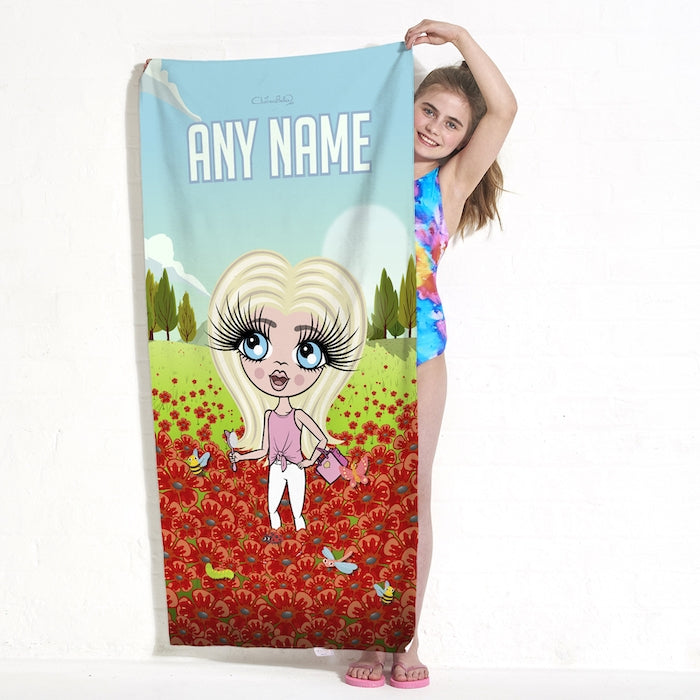 ClaireaBella Girls Poppy Field Beach Towel - Image 1