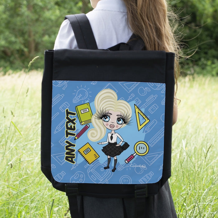 ClaireaBella Girls Blue Print Backpack - Image 1