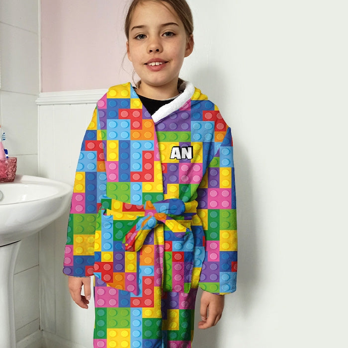 ClaireaBella Girls Building Blocks Dressing Gown - Image 2