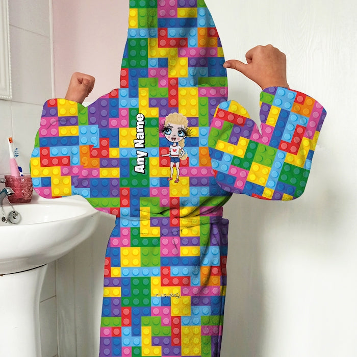 ClaireaBella Girls Building Blocks Dressing Gown - Image 4