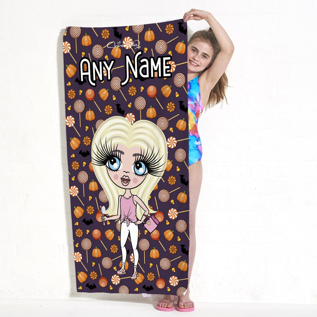 ClaireaBella Girls Spooky Sweet Treats Beach Towel - Image 1