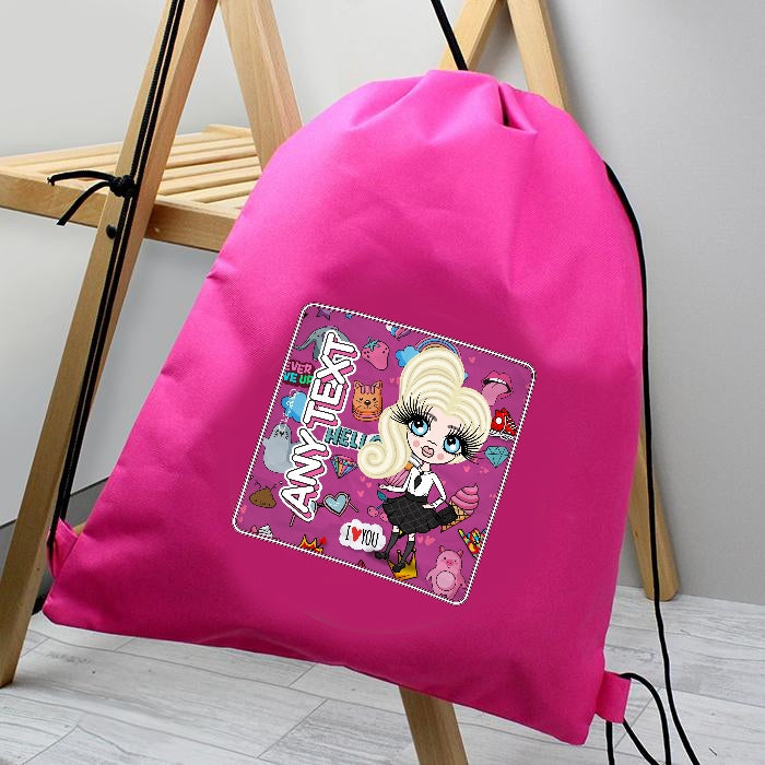 ClaireaBella Girls Fun Stickers Drawstring Bag - Image 1
