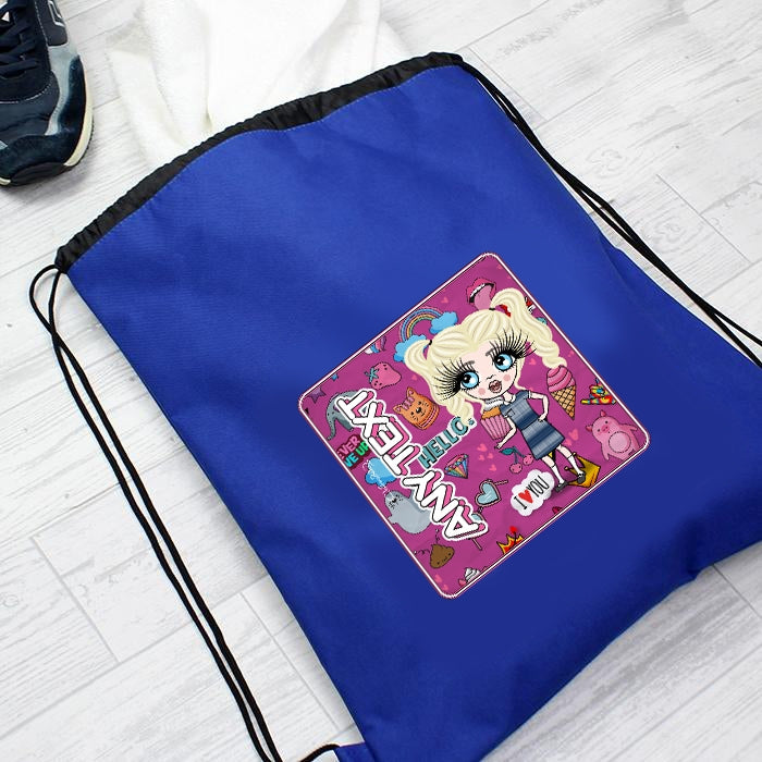 ClaireaBella Girls Fun Stickers Drawstring Bag - Image 3