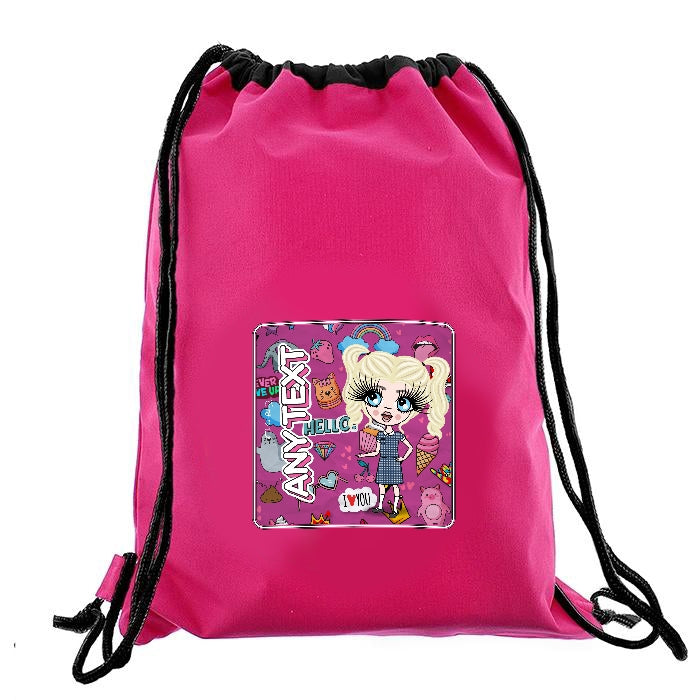ClaireaBella Girls Fun Stickers Drawstring Bag - Image 6