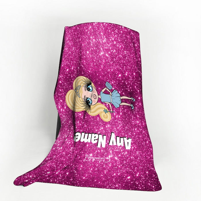 ClaireaBella Girls Pink Glitter Effect Fleece Blanket - Image 1
