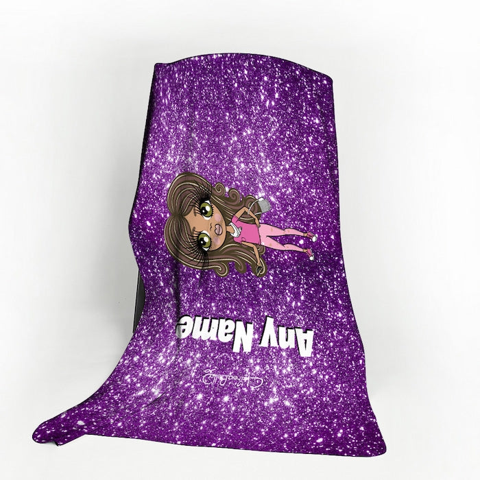 ClaireaBella Girls Purple Glitter Effect Fleece Blanket - Image 1