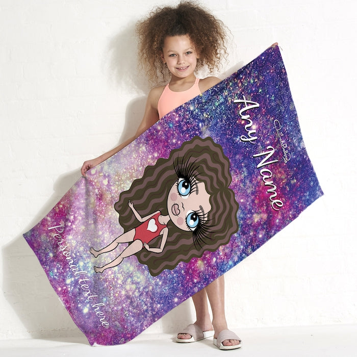 ClaireaBella Girls Galaxy Sparkle Beach Towel - Image 1