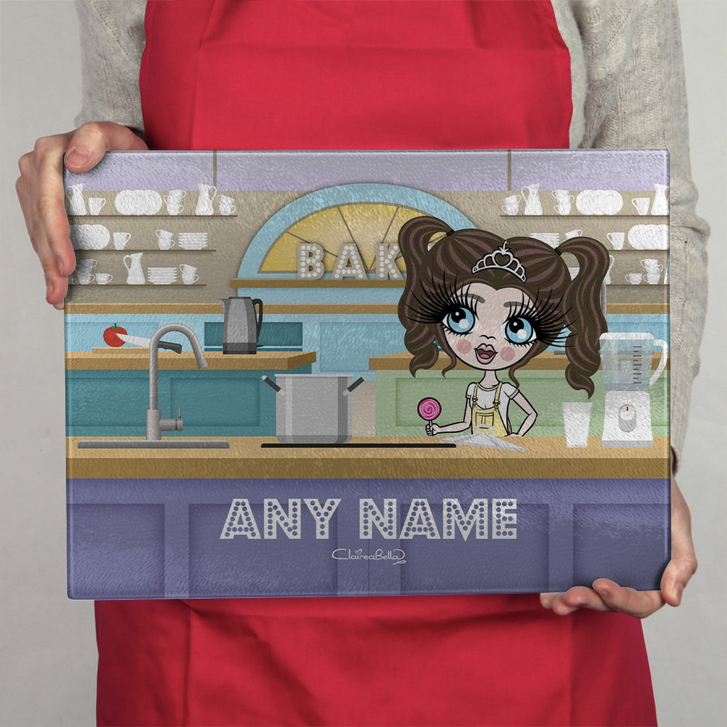 ClaireaBella Girls Landscape Glass Chopping Board - Kitchen Bake Off - Image 1