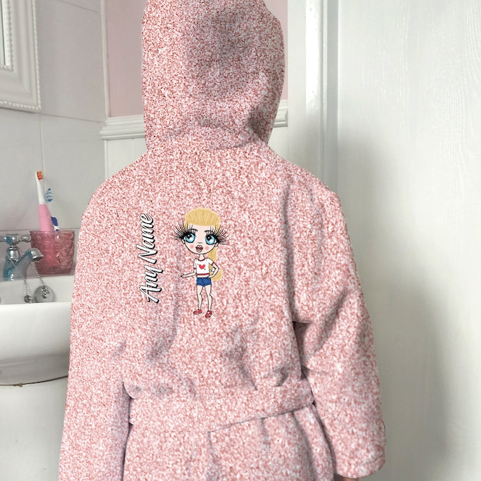 ClaireaBella Girls Blush Glitter Effect Dressing Gown - Image 1