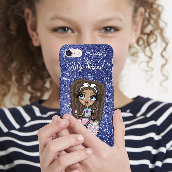 ClaireaBella Girls Wheelchair Personalised Glitter Effect Phone Case - Image 2