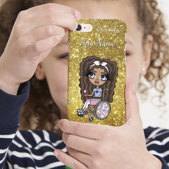 ClaireaBella Girls Wheelchair Personalised Glitter Effect Phone Case - Image 4