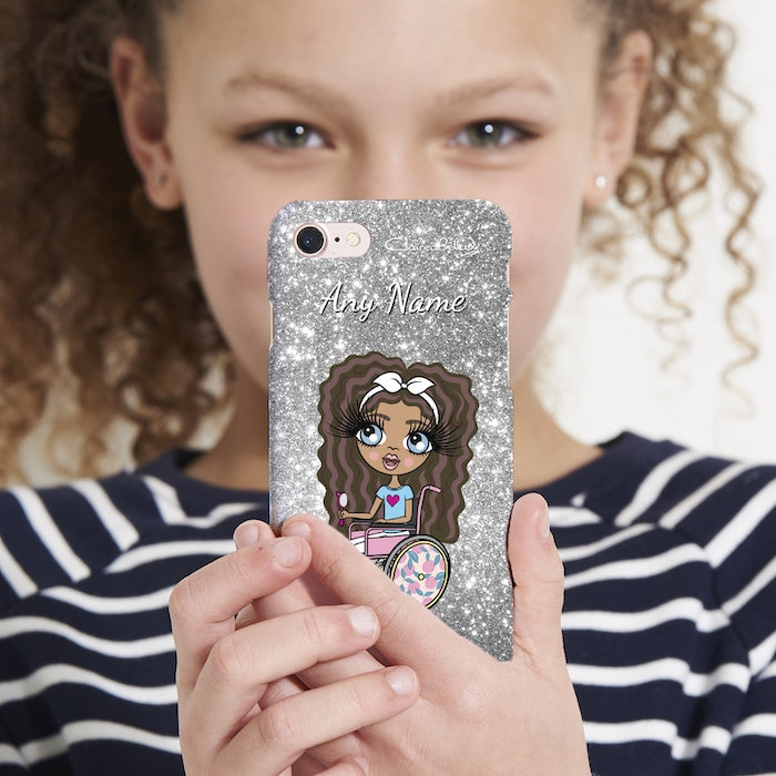 ClaireaBella Girls Wheelchair Personalised Glitter Effect Phone Case - Image 5