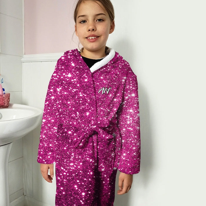 ClaireaBella Girls Pink Glitter Effect Dressing Gown - Image 2
