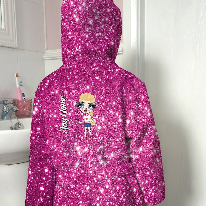 ClaireaBella Girls Pink Glitter Effect Dressing Gown - Image 3