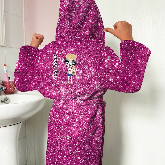 ClaireaBella Girls Pink Glitter Effect Dressing Gown - Image 1