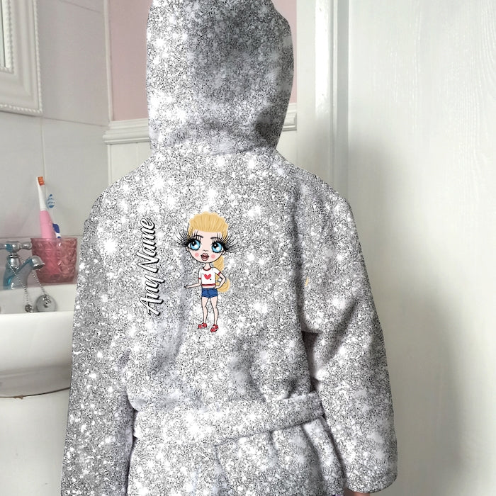 ClaireaBella Girls Silver Glitter Effect Dressing Gown - Image 1