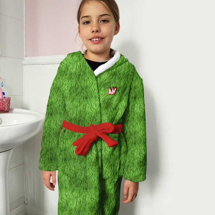 ClaireaBella Girls Grumpy Green Fur Effect Dressing Gown - Image 2
