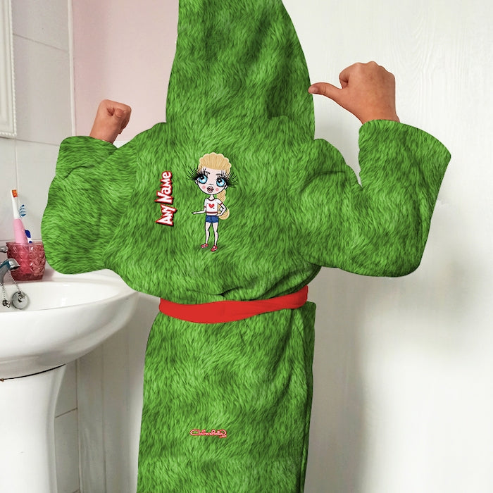 ClaireaBella Girls Grumpy Green Fur Effect Dressing Gown - Image 1