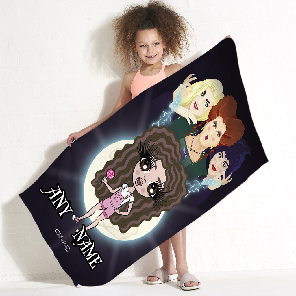 ClaireaBella Girls Mischievous Witches Beach Towel - Image 1