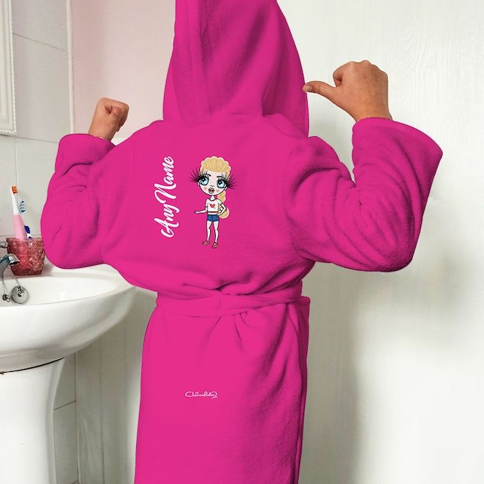 ClaireaBella Girls Hot Pink Dressing Gown - Image 1