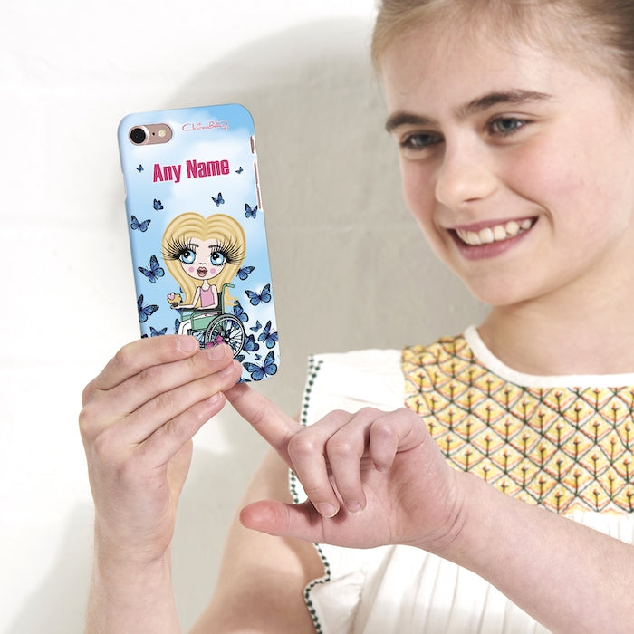 ClaireaBella Girls Wheelchair Personalised Butterfly Phone Case - Image 4