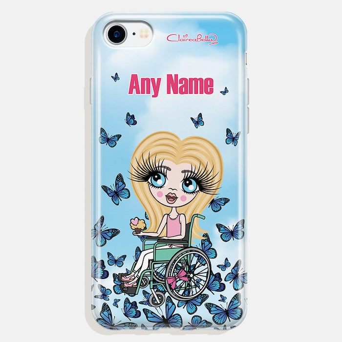 ClaireaBella Girls Wheelchair Personalised Butterfly Phone Case - Image 2