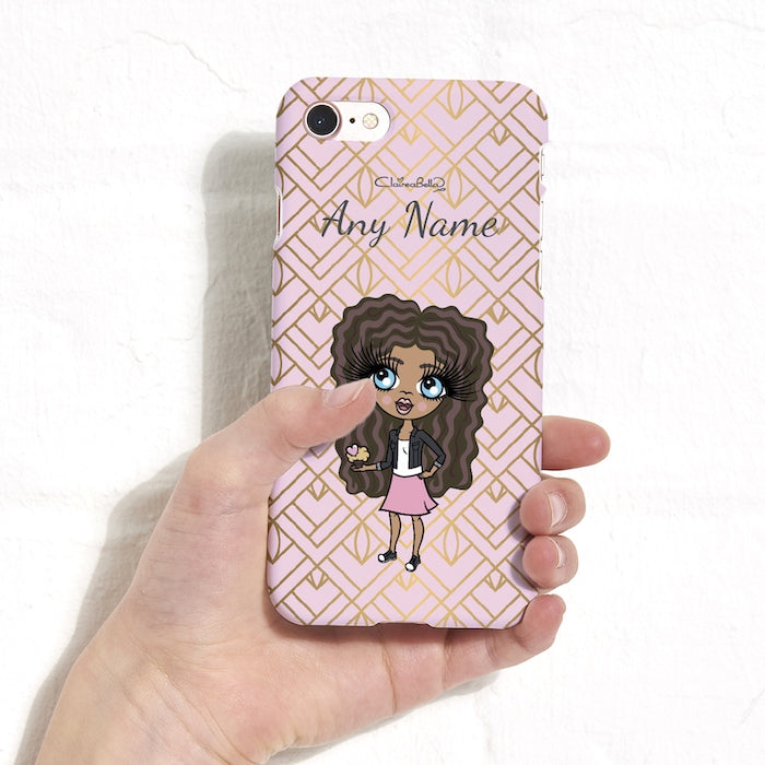 ClaireaBella Girls Gold Geo Print Phone Case - Image 1