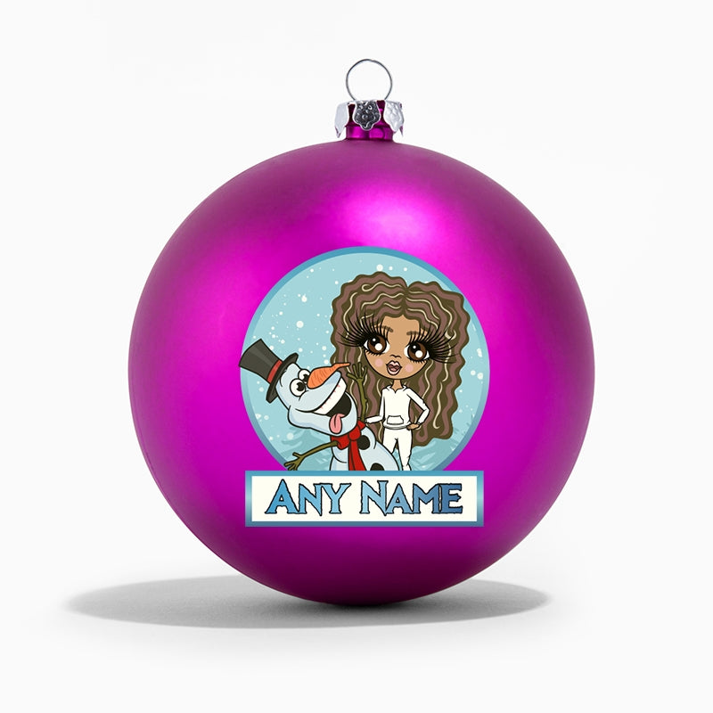 ClaireaBella Girls Snowman Personalised Shatterproof Bauble - Image 1