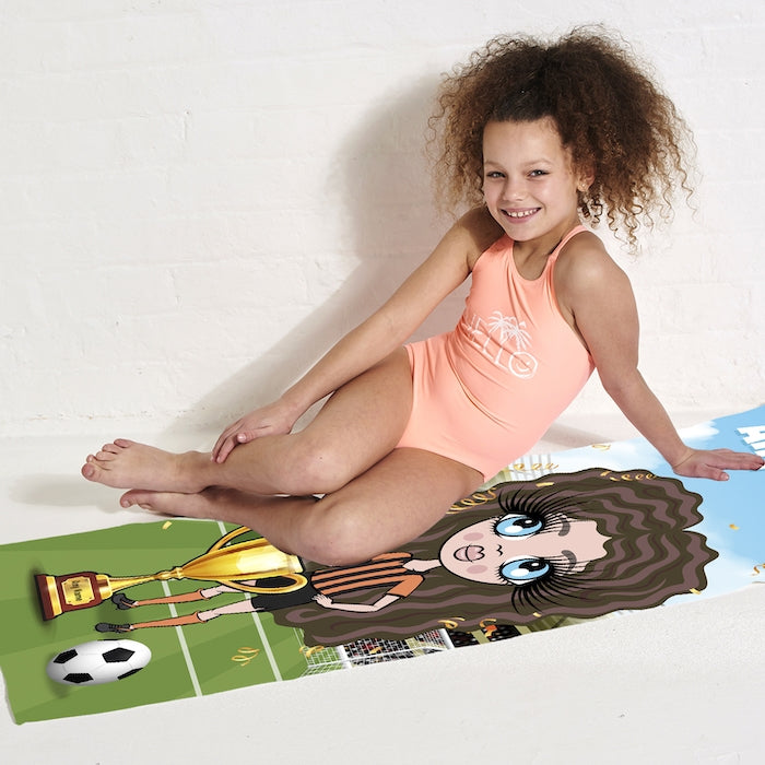 ClaireaBella Girls Football Champ Beach Towel - Image 5