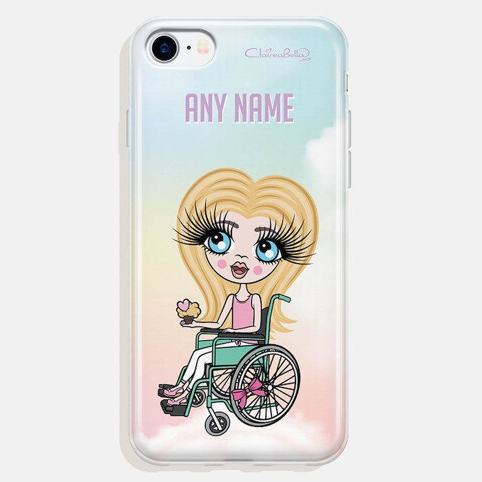 ClaireaBella Girls Wheelchair Personalised Unicorn Colours Phone Case - Image 1