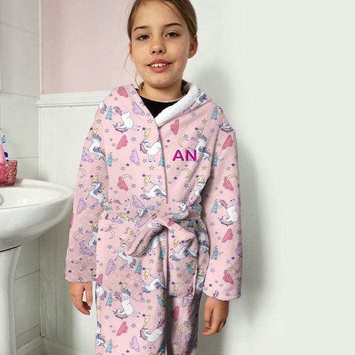 ClaireaBella Girls Unicorns Print Dressing Gown - Image 4