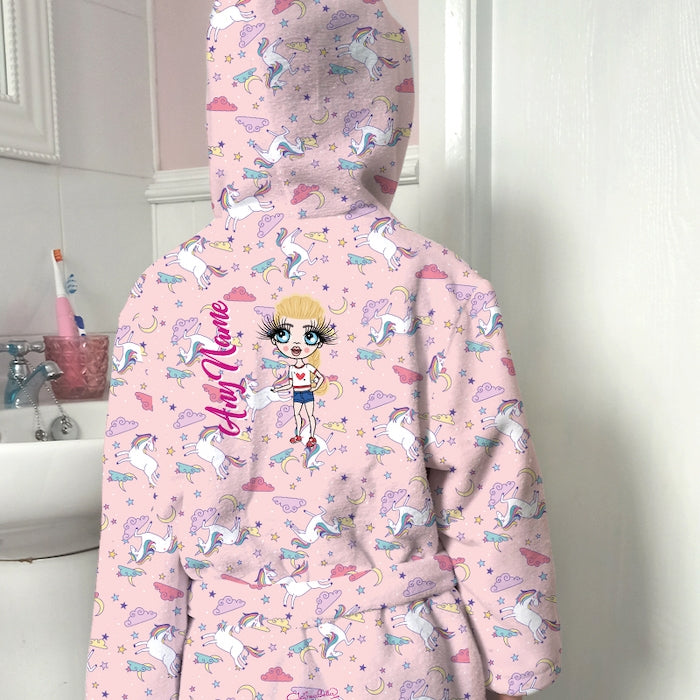 ClaireaBella Girls Unicorns Print Dressing Gown - Image 1