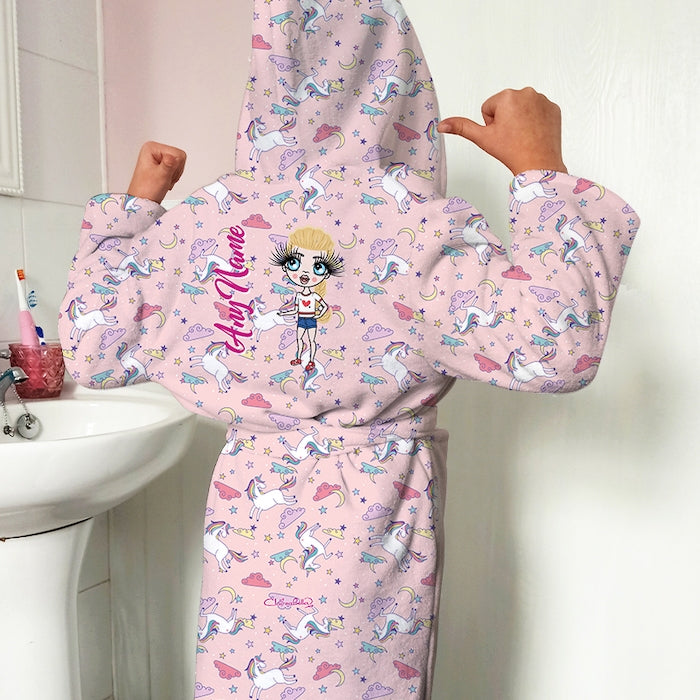 ClaireaBella Girls Unicorns Print Dressing Gown - Image 3