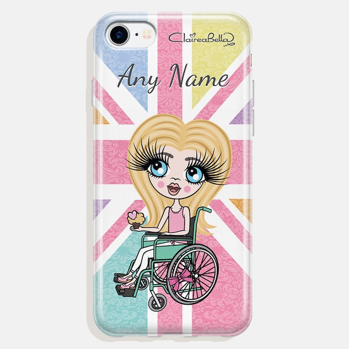ClaireaBella Girls Wheelchair Personalised Union Jack Phone Case - Image 4