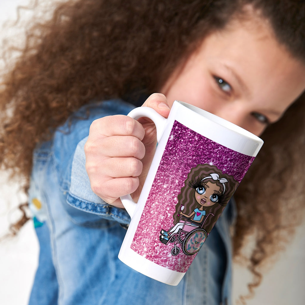 ClaireaBella Girls Wheelchair Ombre Glitter Effect Latte Mug - Image 1