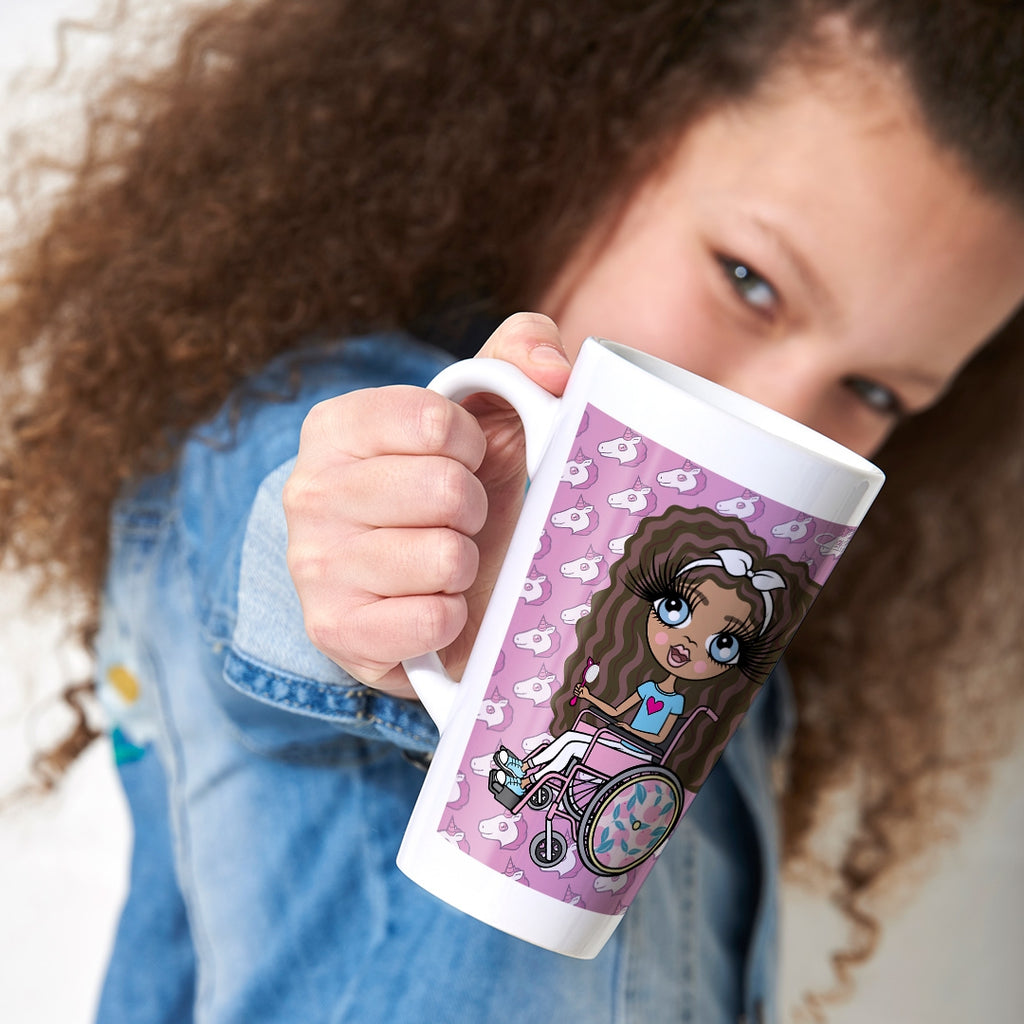 ClaireaBella Girls Wheelchair Unicorn Emoji Latte Mug - Image 1