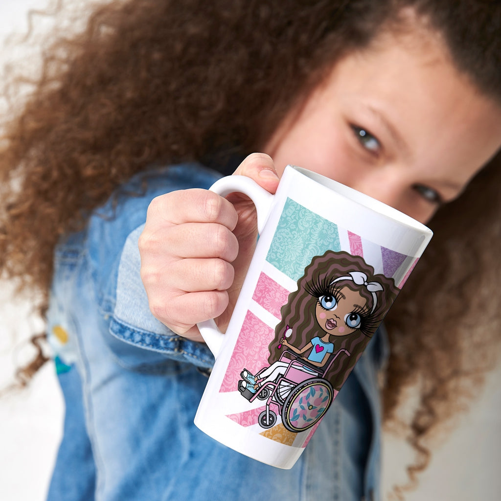 ClaireaBella Girls Wheelchair Union Jack Latte Mug - Image 1