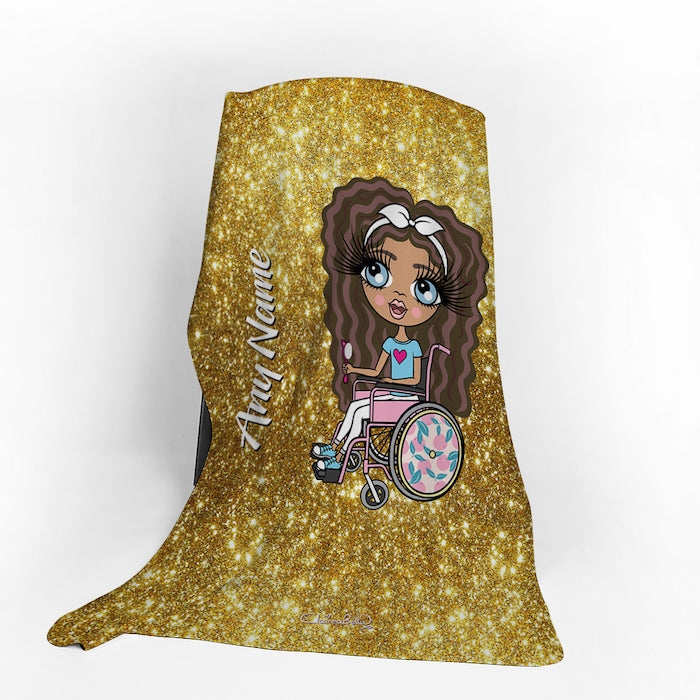 ClaireaBella Girls Wheelchair Portrait Gold Glitter Effect Fleece Blanket - Image 1