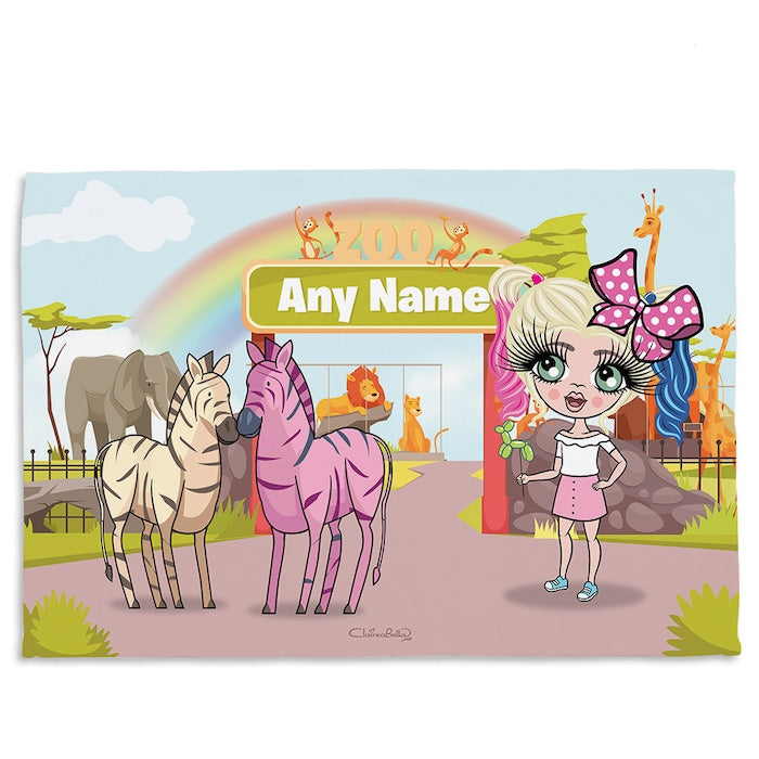 ClaireaBella Girls Zoo Fleece Blanket - Image 1