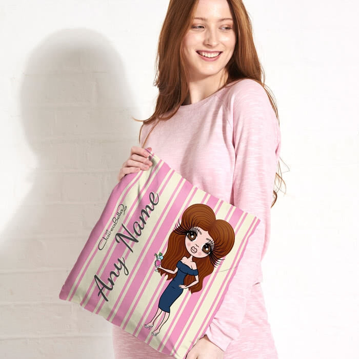 ClaireaBella Square Cushion - Pink Stripe - Image 1